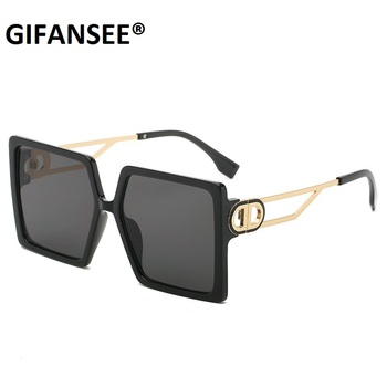 Square Sunglasses Women Fashion 2021 New Vintage Shades Luxury Big Sun Glasses UV400  1