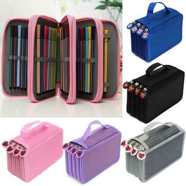 72 Slot Foldable Colored Pencil Case Organizer PU Leather Pen Bag Storage Pouch Pencil Case Bag