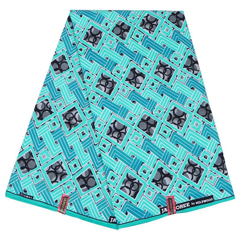 2019 New Fashion Design African Dutch Wax Fabric Light Blue Print Pagnes African  Veritable Wax Printed Fabric