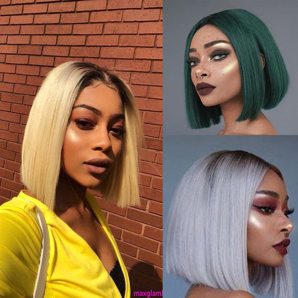 Bella Synthetic Lace Front Wig Straight Hair Bob Wigs Blonde Blue And Green Color Lace Frontal Cosplay 10