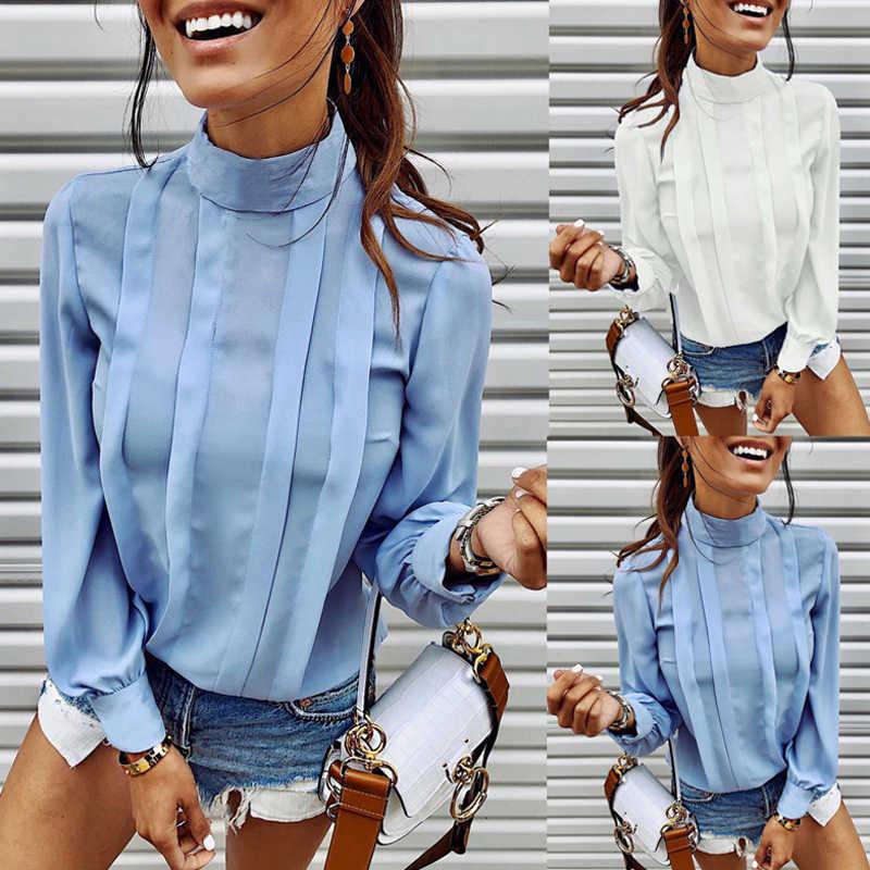 Lipswag осень сплошного цвета с кнопками женская блузка 2019 сексуальный о-вырез, длинный рукав, верхняя блуза элегантная для работы в офисе блузки для женщин
