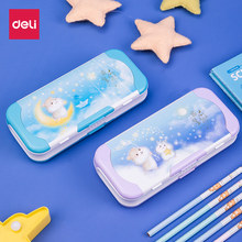 Deli Multifunctional Stationery Box Children Large-capacity 3 layer Pencil Case Plastic Cute Cartoon pen box comes with Rulers(China)