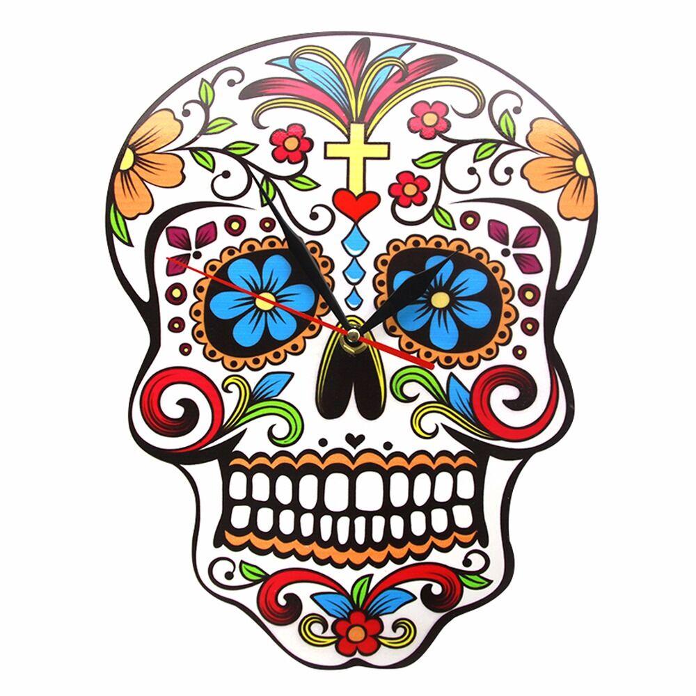 Day of the Dead Spanish Dia de los Muertos Skull Fleece Fabric  by the Yard