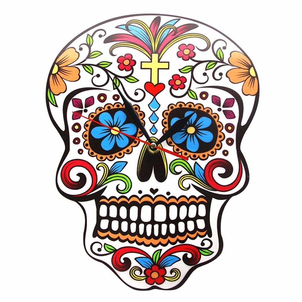 Mexican Dia De Los Muertos Day Of The Dead Wall Clock Floral Skull Modern Wall Clock Candy Sugar Skull Halloween Wall Decor