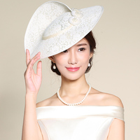 Mingli Tengda Lace Hats Woman Formal Hat Banquet Bride Flax Headwear Cambric Hat Grace Stage Banquet Party Wedding Accessories