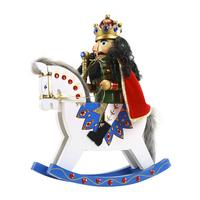 36CM Nutcracker Soldier Puppet Ornaments Rocking Horse Nutcracker Soldier Doll Wooden Craft Home Decoration Christmas Gifts