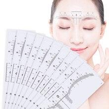 10 adet kullanımlık yarı kalıcı kaş RulerMicroblading kaliper Stencil makyaj göz kaş tedbir aracı kaş kılavuzu cetveli