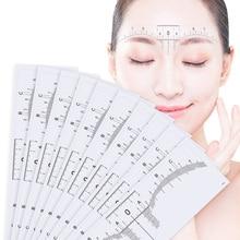 10PC לשימוש חוזר חצי קבוע גבות RulerMicroblading Calliper סטנסיל איפור עיניים מצח למדוד כלי גבות מדריך שליט