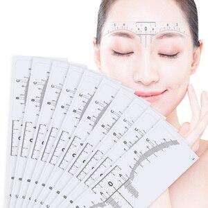 Image 1 - 10PC לשימוש חוזר חצי קבוע גבות RulerMicroblading Calliper סטנסיל איפור עיניים מצח למדוד כלי גבות מדריך שליט