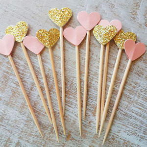 30Pcs/Set Lovely Glitter Heart Star Shape Cupcake Toppers Birthday Wedding Party Decoration Cake Topper Decoration Food Pi
