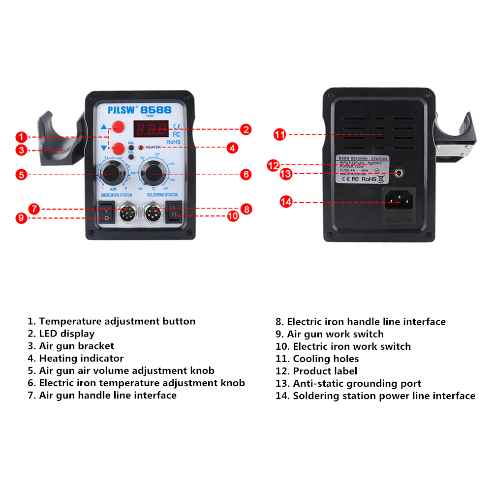Tools : 8586 700W Digital display hot air gun soldering station 2in1 hot air desoldering station Mobile phone repair hot air gun Welder