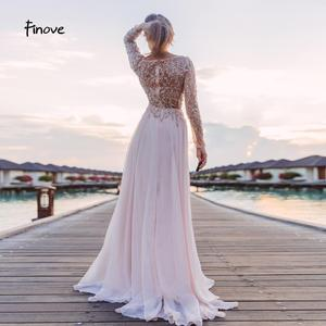 Image 4 - Prom Dresses Party Long Sleeve Crystals Beading By Hand Sexy See through A Line Bridesmaid Dresses Robe de Soiree Finove