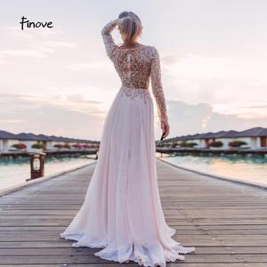 Image 4 - 댄스 파티 드레스 파티 긴 소매 크리스탈 손으로 구슬 섹시한 시스루 a 라인 신부 들러리 드레스 Robe de Soiree Finove