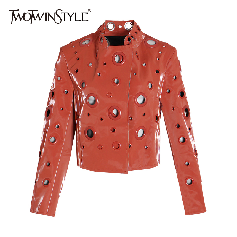 TWOTWINSTYLE Hollow Out PU Leather Women's Jackets Stand Collar Long Sleeve Streetwear Female Jacket Autumn Fashion New 2020
