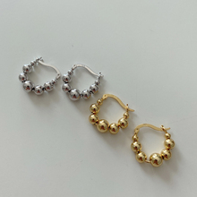 French high quality fashion personality light luxury sterling silver 925 women's geometric round beads gold and silver earrings