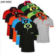 JOH FIERS Men Polo Shirt New 2019 Summer Fashion 65% Cotton Short Sleeve Tops For Man Slim Breathable Shirts Plus Size 3XL