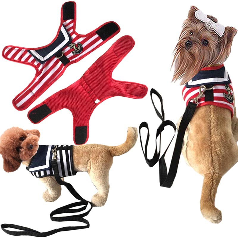 Pet's Chest-back Pet Nursing Haulage Rope Package Dog Breast Collar With Vest Dog Chain Sailor Stripes Chest And Back