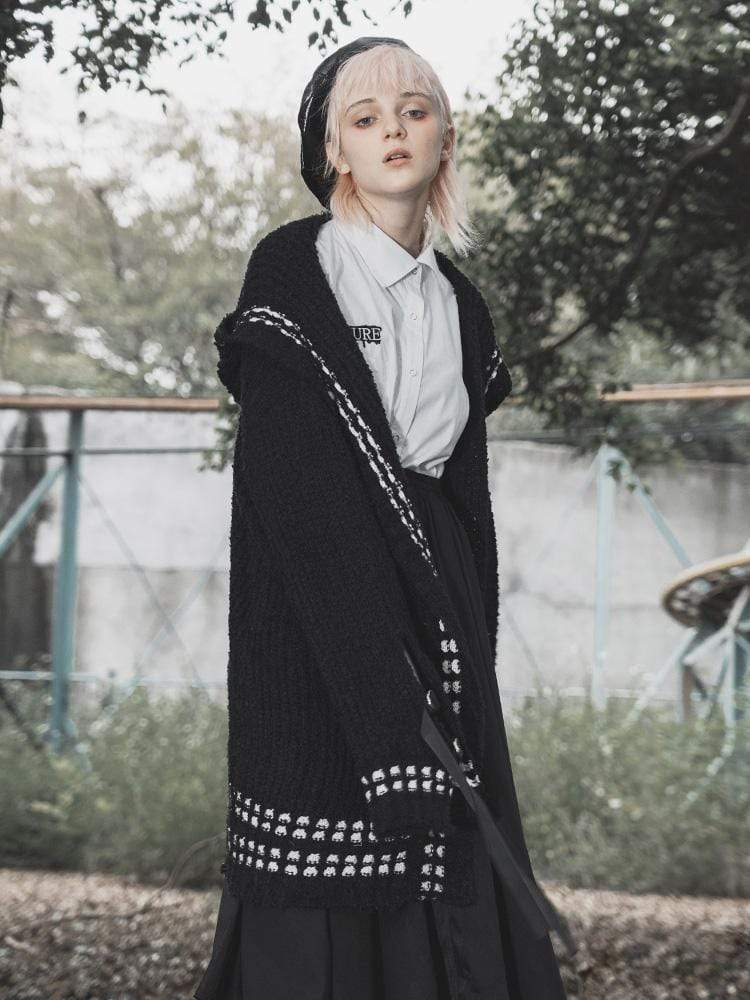 Панк рейв девушка черный гранж горошек узор Повседневная трикотажная Harajuku Толстовка с капюшоном длинные пальто уличная одежда - 2