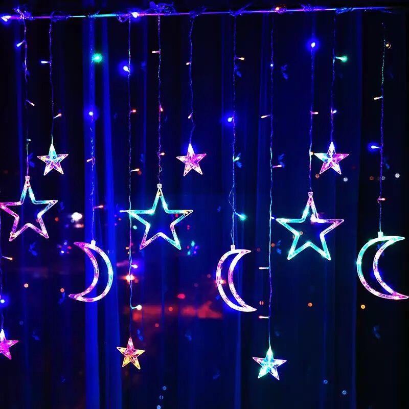 3.5M Garland Moon Star LED Lamp Fairy Curtain Light Waterproof Wedding Birthday Christmas Lighting Indoor Decoration Light