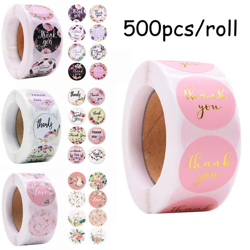 500pcs/roll Thank You Stickers Handmade Round Paper Stickers Labels for Wedding Festival Party DIY Gift Packing Seals Decoration