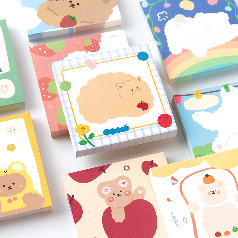 Mohamm 100 Sheets/lot Cute Cartoon Bear Sticky Notes Post Notepad Memo Pad Stationery Office School Supplies