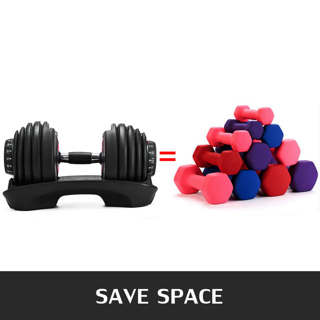 1Pcs 24kg Adjustable Selectable Dumbbells Weights Home Gym 52lbs  6