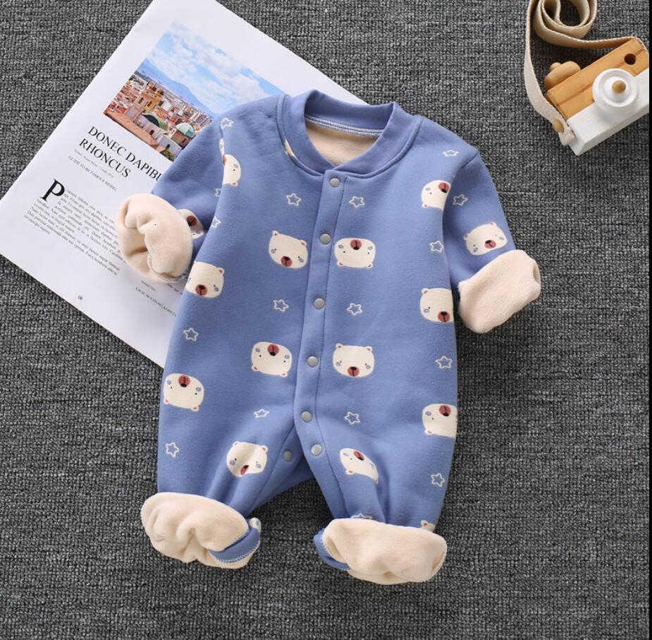 Mamelucos de invierno conjunto de ropa de lana caliente para niños ropa de dibujos animados para Niñas Ropa de recién nacidos mono de bebé
