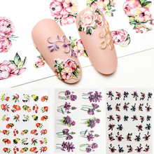 3D Acrylic Engraved  Nail Sticker Winter colorful flowers birds love desgin Water Decals Empaistic Nail Water Slide Decals Z0260
