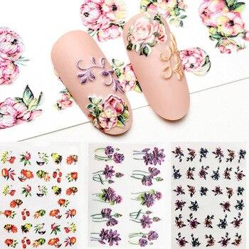 3D Acrylic Engraved  Nail Sticker Winter colorful flowers birds love desgin Water Decals Empaistic Slide Z0260