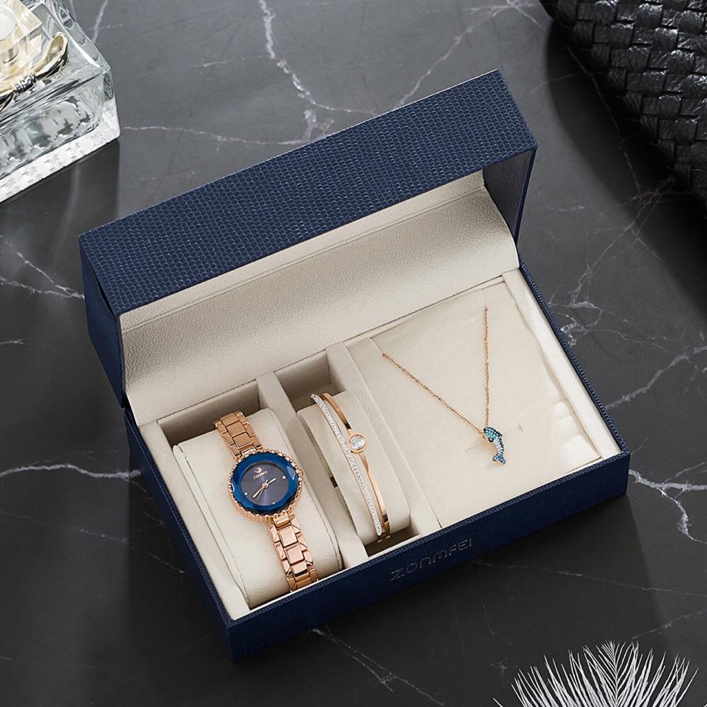 Ensemble de montre diamant Bracelet mignon dauphin collier cadeaux de dame