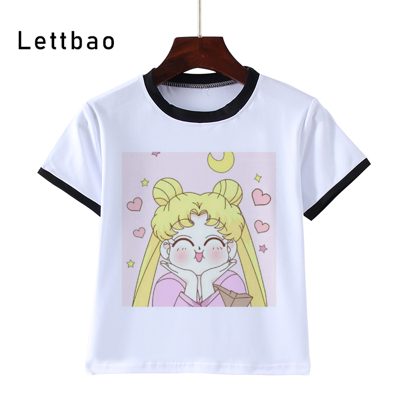 Sailor Moon Short-Sleeved T-Shirt Printing Children's Cartoon White Tshirt Kids