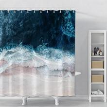 Shower Curtain Printed Ocean Waves Beach Polyester Bathroom Shower Curtain Set Waterproof Modern Bath Shower Curtain With Hooks beach sunlight waterproof shower curtain