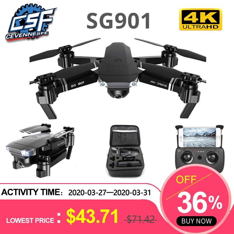Oyuncaklar ve Hobi Ürünleri'ten RC Helikopterler'de Drone SG901 4K Profesyonel Katlanır Drone HD kamera 1080P WiFi fpv uzaktan kumandalı Drone uçuş 20 dakika Quadcopter Drone oyuncak title=