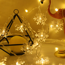 10M 100 LED EU Plug Snow Flakes Christmas Garland Outdoor String Fairy Lights For Party Home Xmas Tree Wedding Decorations