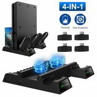 Soporte de refrigeración Vertical para PS4/PS4 Slim/PS4 Pro, cargador doble para mandos, estación de carga, ventilador LED, 12 ranuras de almacenamiento de juegos