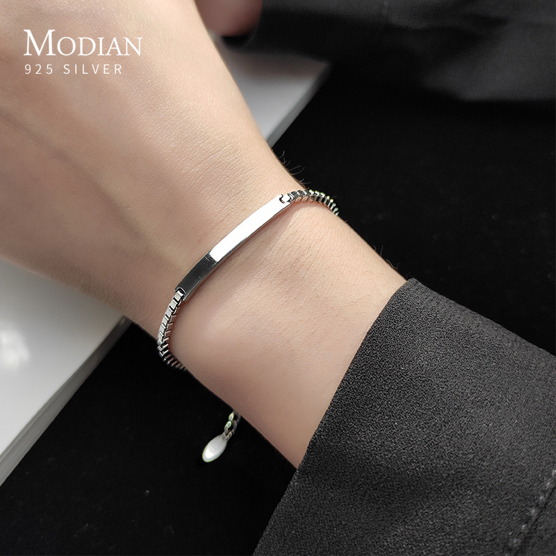 Modian Brands Simple 925 Sterling Silver Geometric Rectangle Bracelet for Women Box Chain Bangle Japanese Style Fine Jewelry