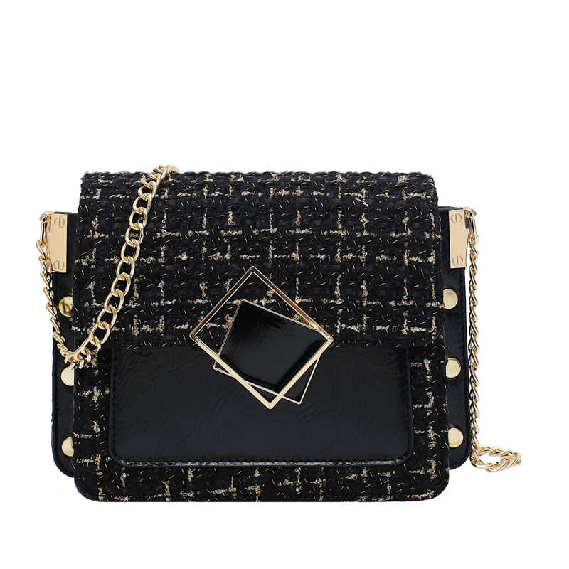 2019 Winter New Square Crossbody bag Quality Woolen Contrast color Women's Designer Handbag Lock Chain Shoulder Messenger Bag