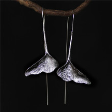 цена на Real 925 Sterling Silver Earrings Long Dangle Earrings Fashion Jewelry Sterling Silver Ginkgo Leaf Drop Earrings for Women