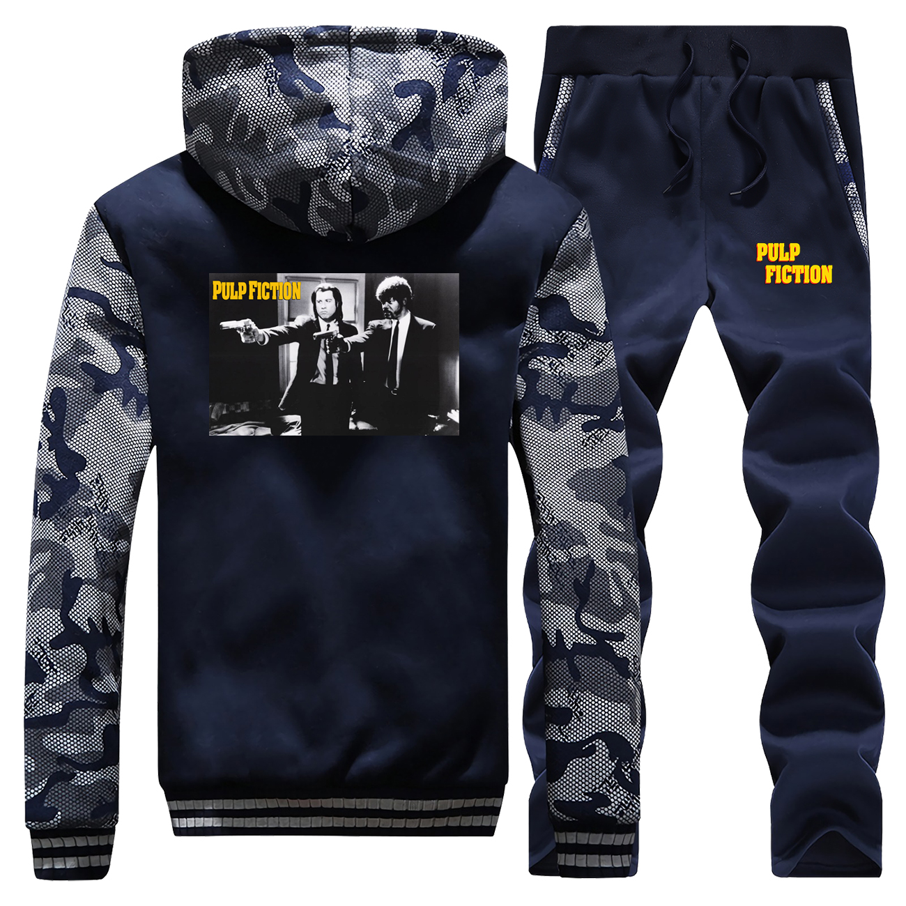Movie Pulp Fiction Django Kill Bill 2 John Travolta Man Camo Fleece Sweatshirts Hoodies Pants 2pcs Sets Men Harajuku Streetwear