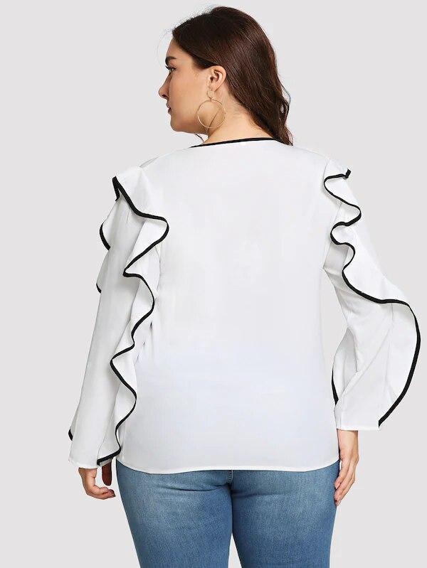 Talla grande 5XL XXXXL mujer ropa blusa nueva gasa volantes cuello redondo camisa Tops 2019 verano Venta caliente camiseta Casual