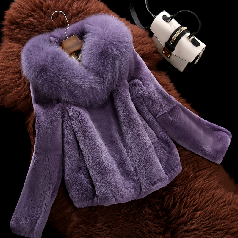 Coats Female Clothing Outerwear Jacket Fox-Fur-Collar Rex-Rabbit-Fur Natural Winter Women's