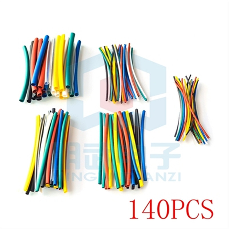 140PCS/pack Car Electrical Cable Tube Kits Heat Shrink Tube Tubing Wrap Sleeve Assorted 5 Sizes Mixed Color
