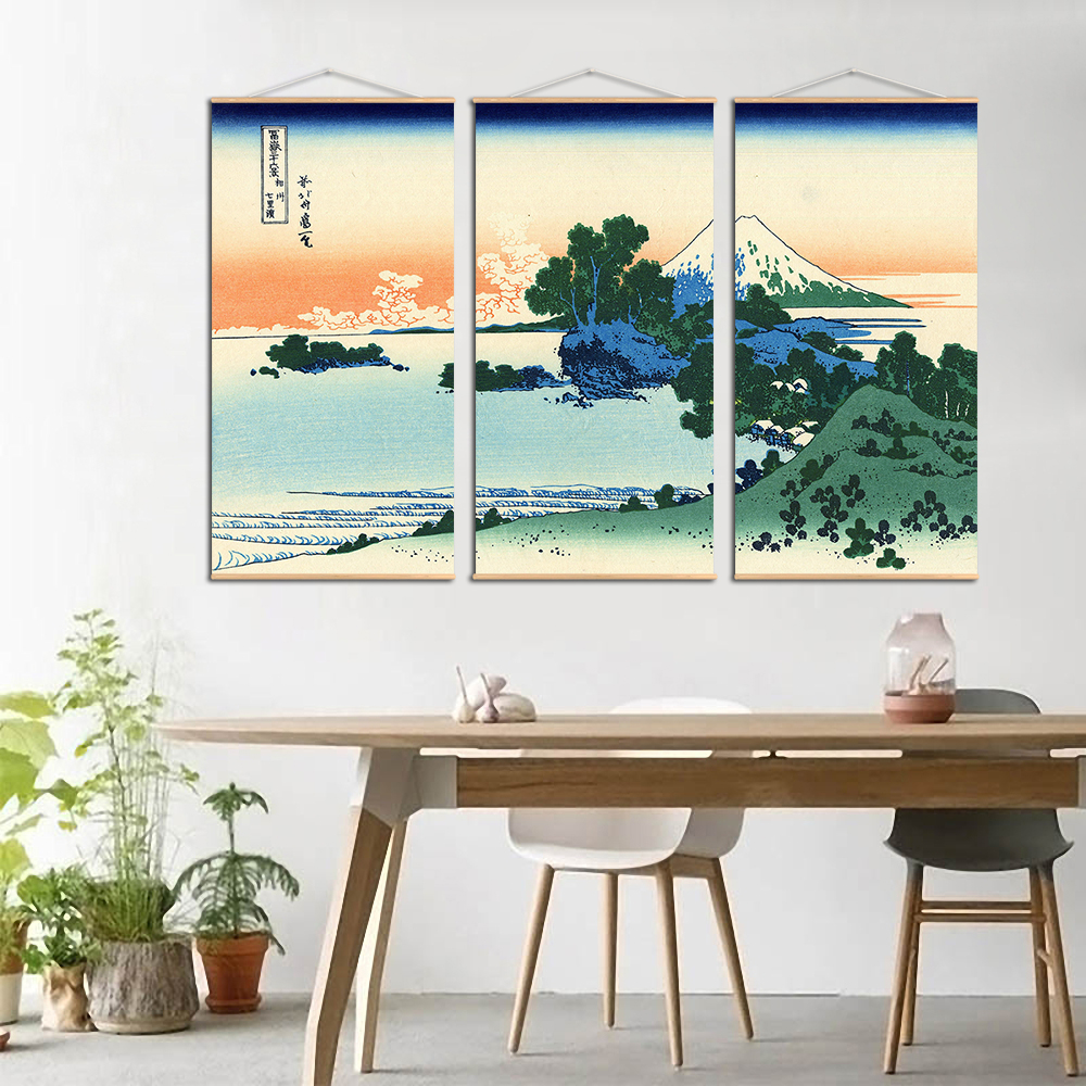 Japanese Ukiyoe Kanagawa Surf Canvas Scroll Poster Painting Abstract Landscape Wall Pictures For Living Room Scroll Printing