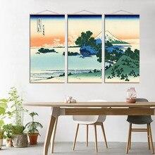 Japonês ukiyoe kanagawa surf lona rolagem cartaz pintura abstrata paisagem parede imagens para sala de estar impressão do rolo