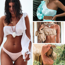 2019 New Bikini Cover-Up Beach-Dress Long-Sleeve Gossamer Female One-Shoulder Bandage c kinkel gossamer waltz
