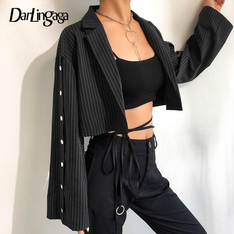 Darlingaga Fashion Stripe Cropped Autumn   Jacket   Women Cardigan Buttons Coat Casual   Basic     Jacket   Outwear Open Sleeve   Jackets   2019
