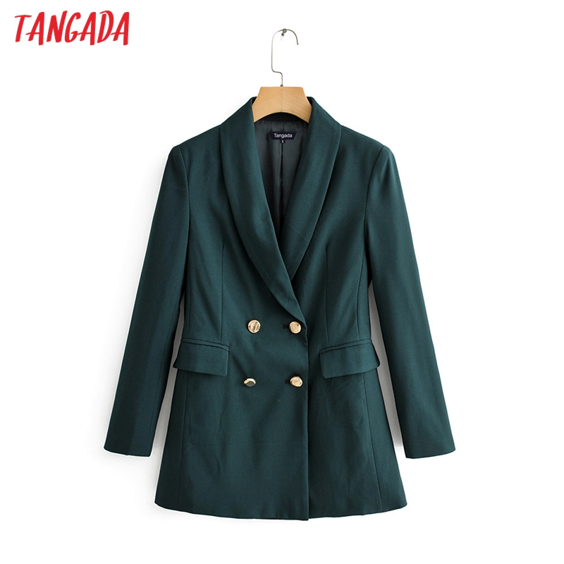 Tangada Fashion Women Elegant Double Breasted Blazer Long Sleeve Korea Style Female Blazer Office Ladies Chic Outwear QJ143