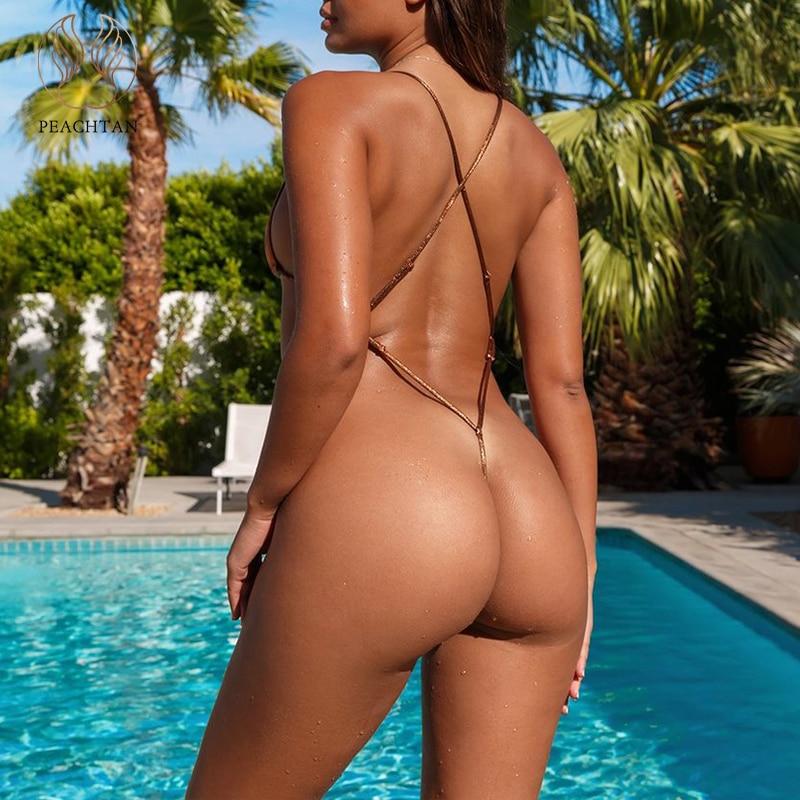 Peachtan Sexy Extreme Micro Bikini 2020 Solid Gold Bathing Suit Triangle Swimsuit Push Up String Bandage Swimwear Women Biquini