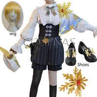 ¡Anime! Identity V-traje de piel de oro para mujer, traje de Cosplay, Alchemist, pintor Valden, Alchemist, Cosplay, Halloween, accesorios de peluca