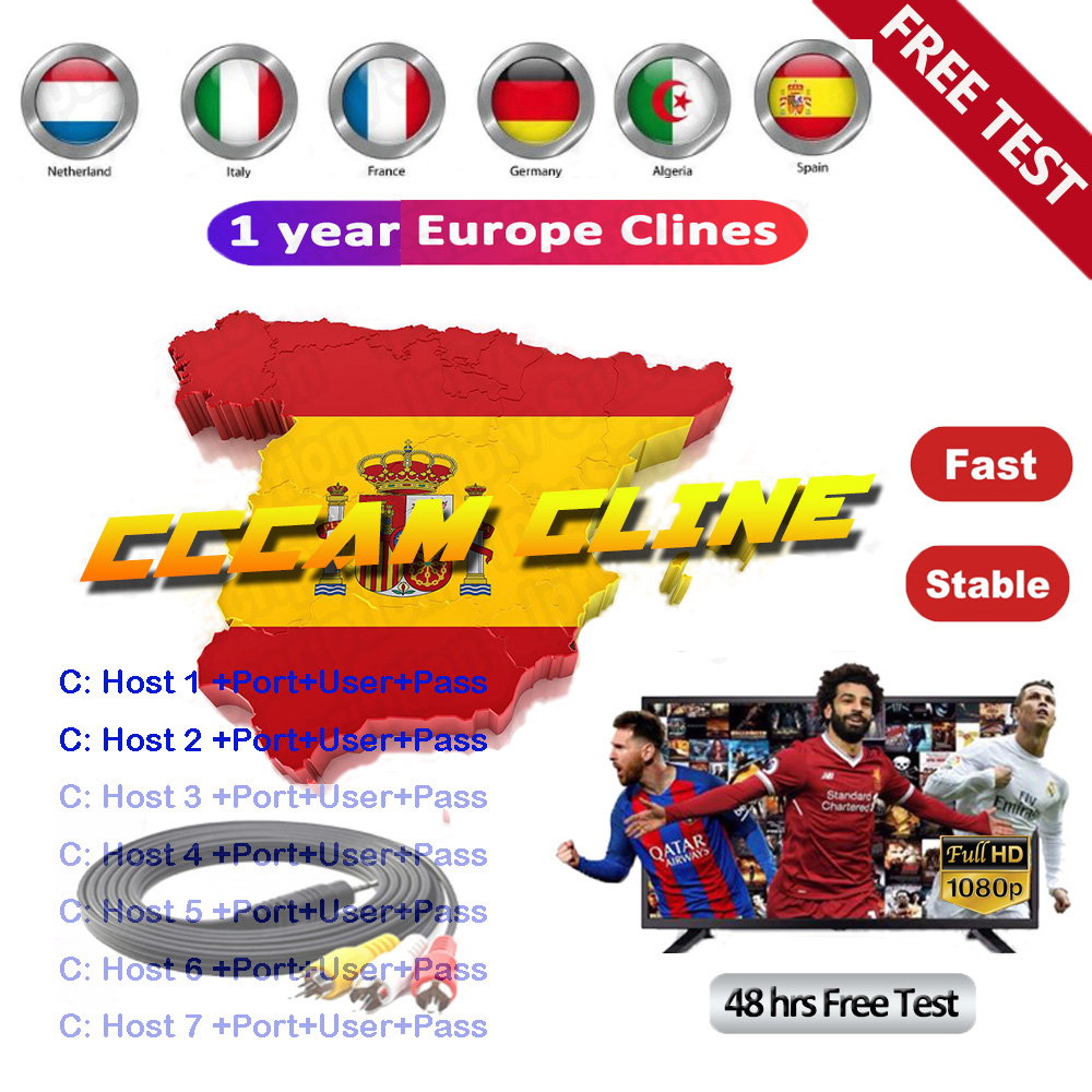 2020 The Most Stable Cccams For Europe Spain 7 Line Cccam Satellite Tv Receiver 7 Clines WIFI FULL HD DVB-S2 Support Ccams Cline